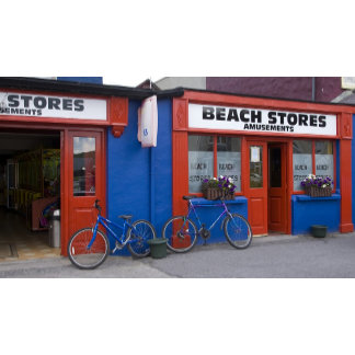 Ireland, Strandhill. Storefronts with bicycles
