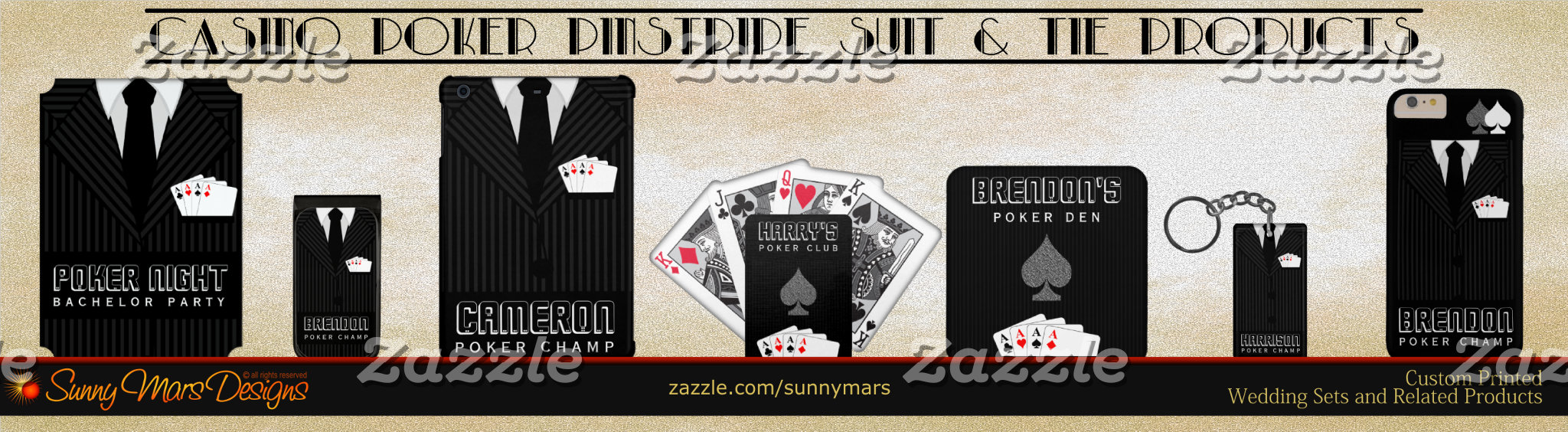 Poker Aces in Pocket Black and Gray or Grey Pinstripe Suit and Tie Product Set Collection