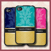 Faux Gold Damask Personalized iPhone 4 Cases