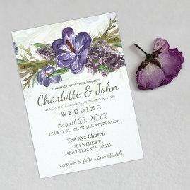 Purple Floral Wedding Invitations