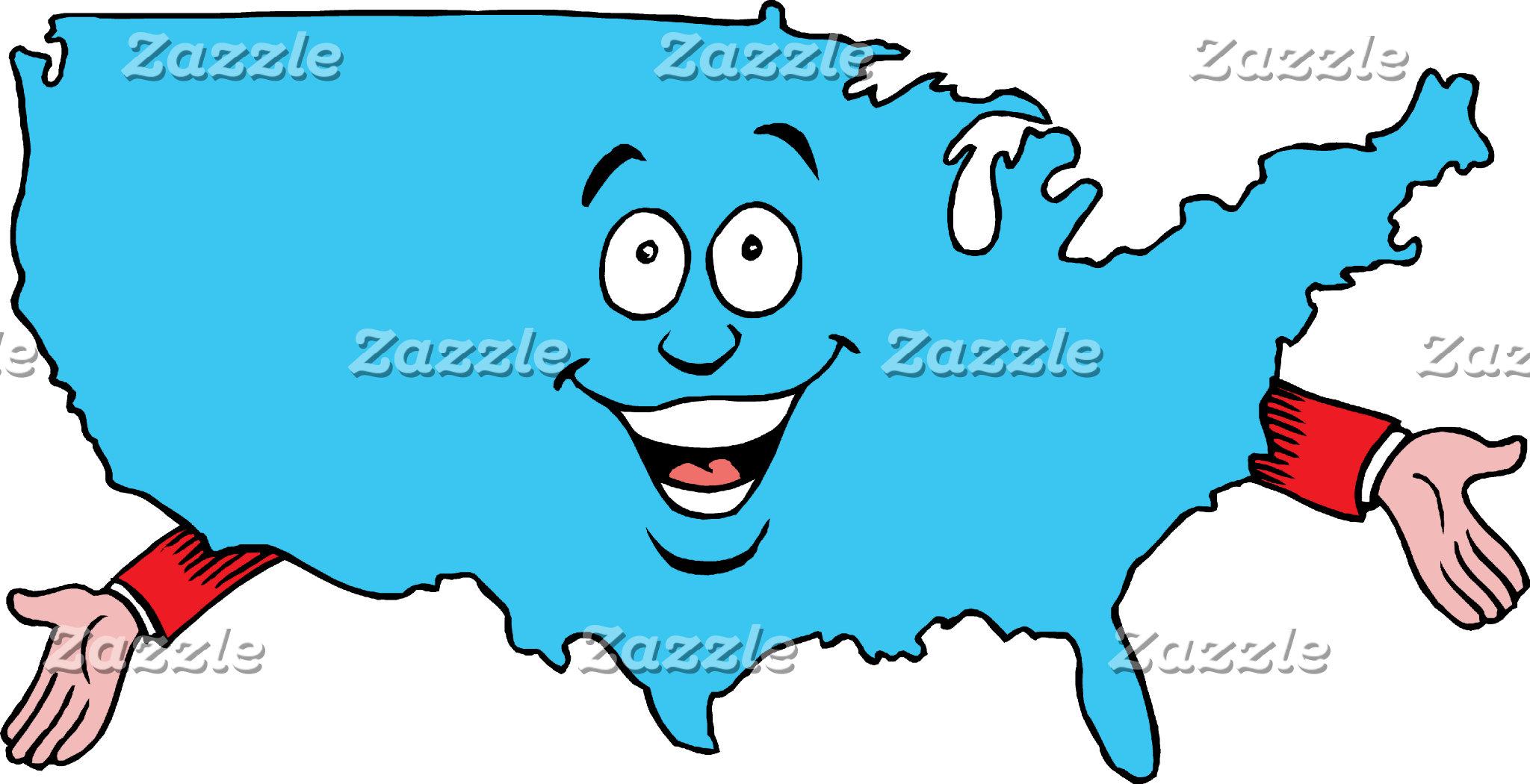 America and World Cartoon Maps