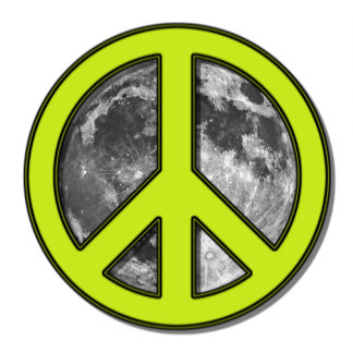 Green Moon Peace Sign -