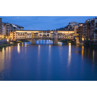 Italy, Florence, Night Reflections in the