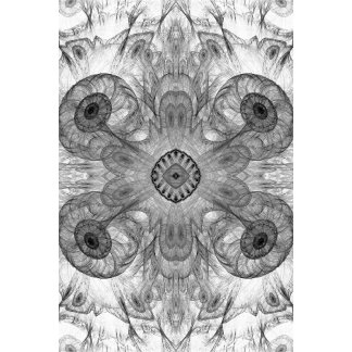 Abstract Electric Jellyfish Cool Fractal b&w