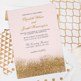 Glitter Dust Blush And Gold  Wedding Invitations Suite