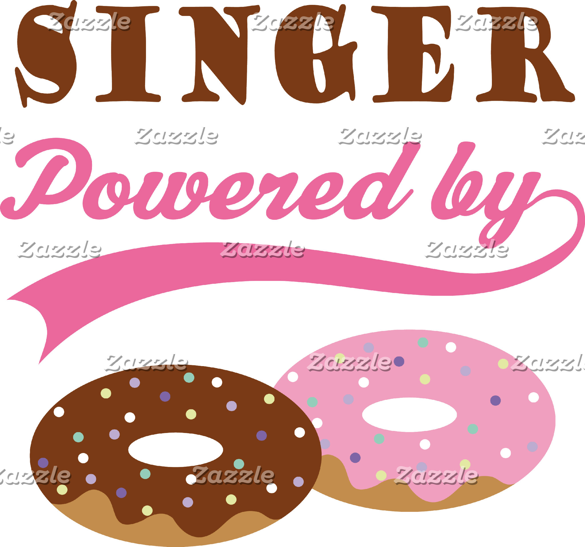 Singer Powered By Donuts T Shirts and Mugs