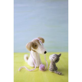 """""""Felt Dog and Cat with Yarn Photo Poster Print"""""""