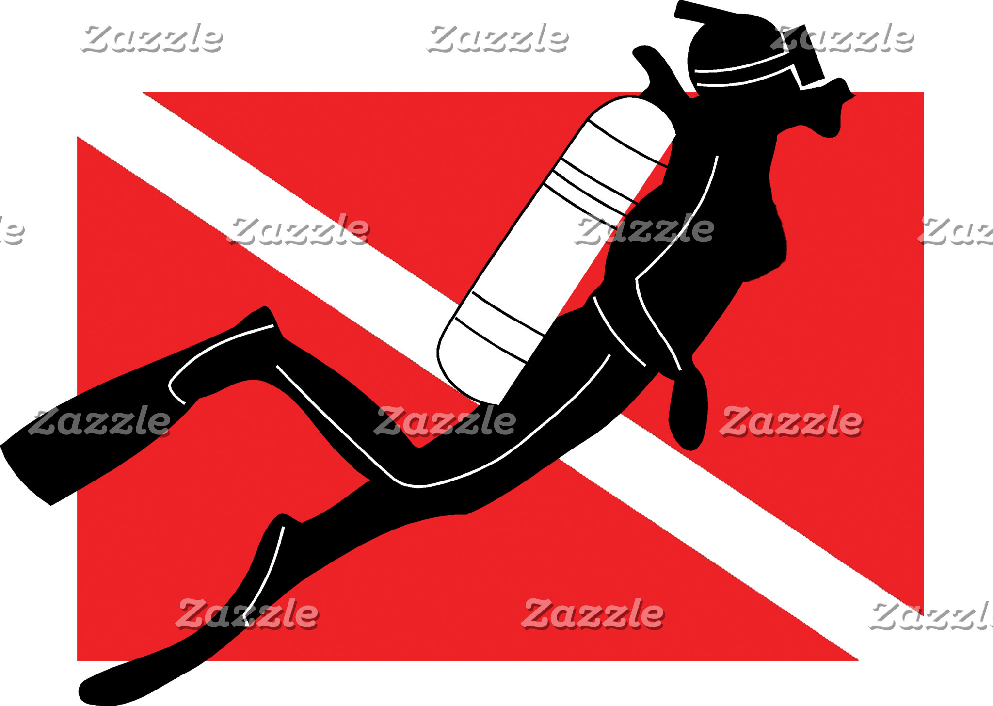 SCUBA Diver Down Flag With Female Diver T-Shirt