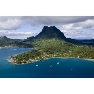 French Polynesia, Bora Bora. Aerial view of