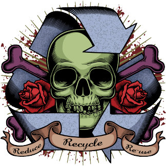 Recycle Skull w/Roses