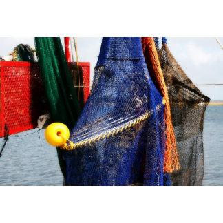 Blue fish net Red wood Yellow Float Florida Scene