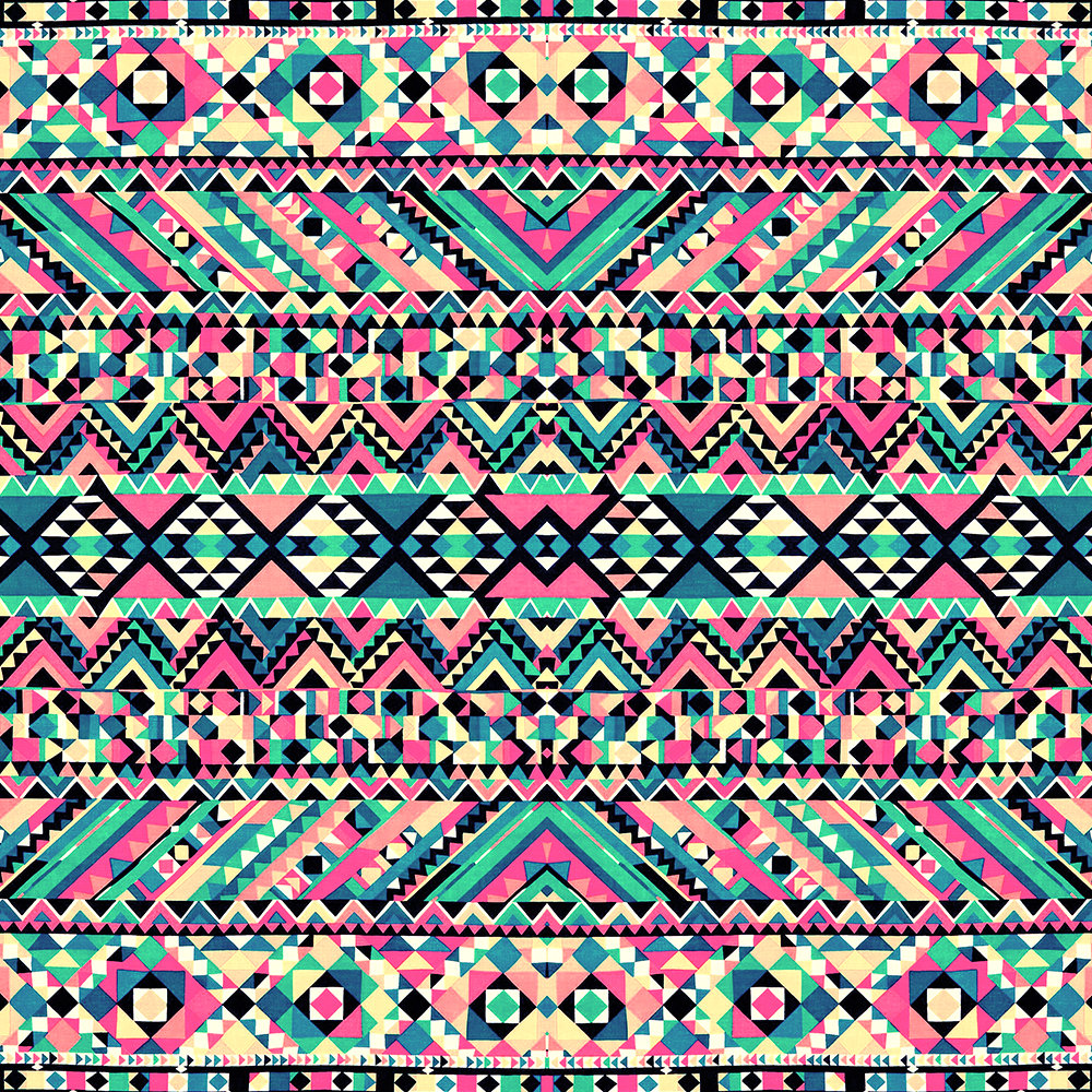 Pink Turquoise Girly Aztec Andes Tribal Pattern