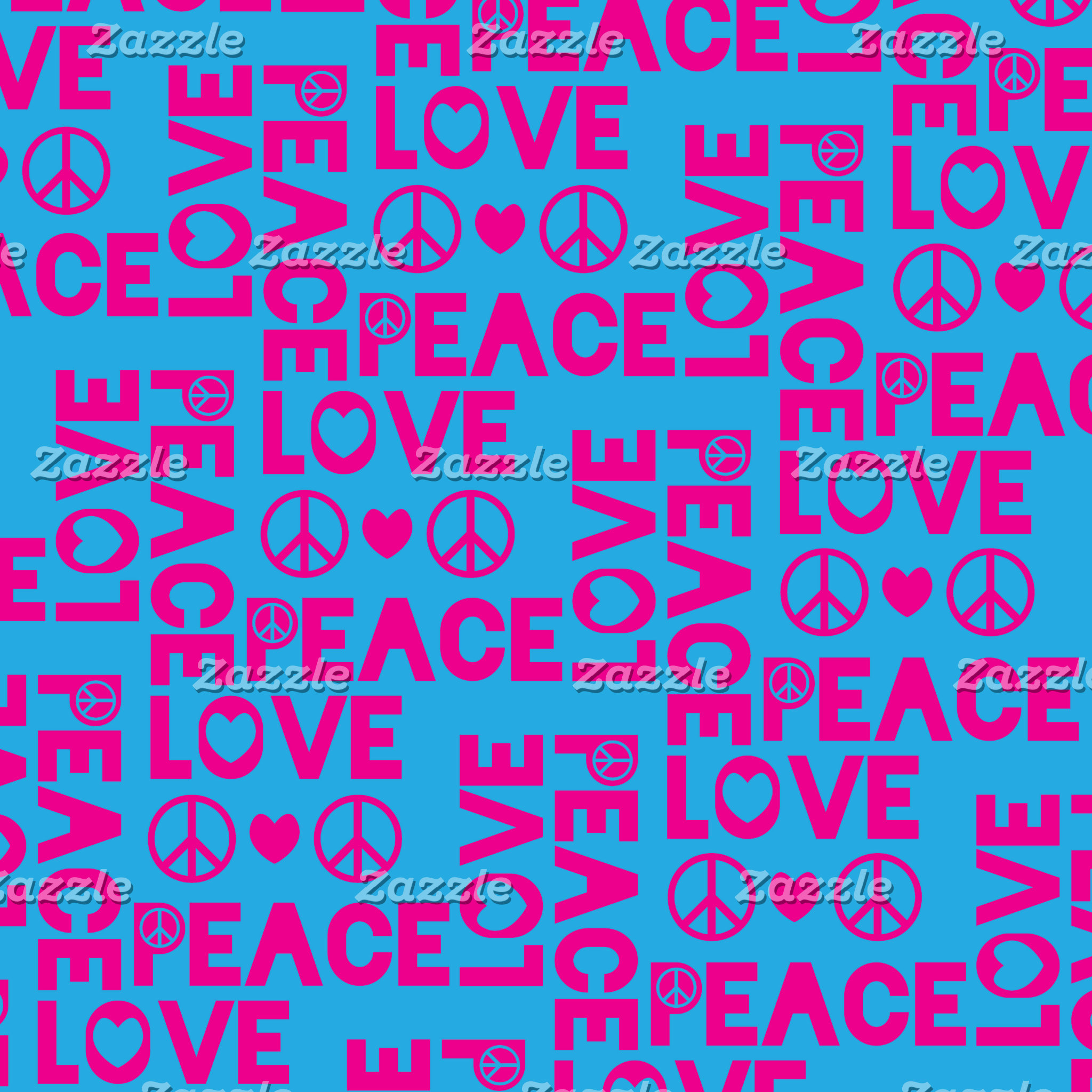 Peace and Love Pink Blue
