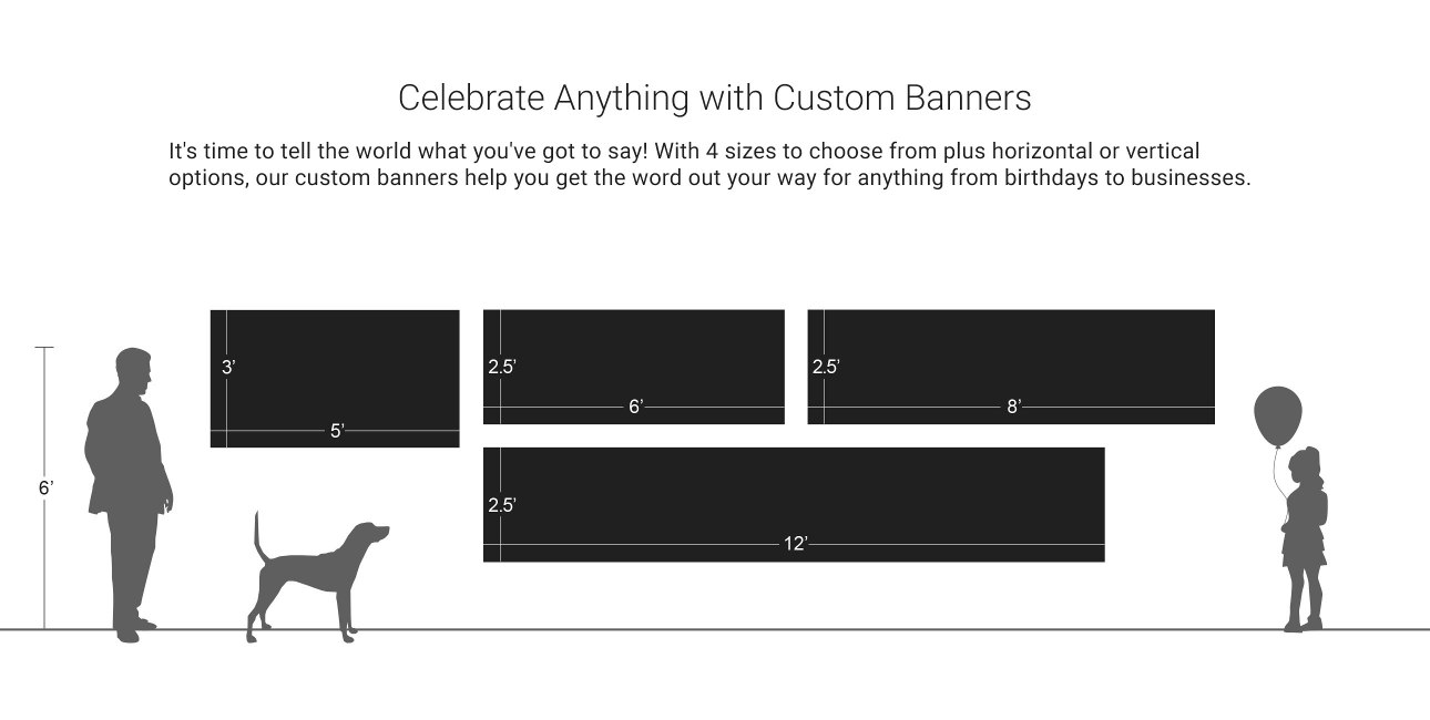 With 4 sizes to choose from our custom banners help you get the word out