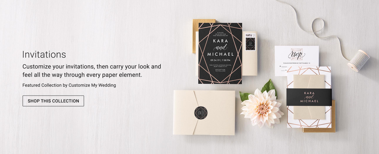 Customize your invitations, then carry your look and feel all the way through every paper element.