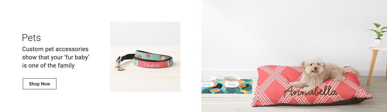 Spoil your pet rotten with beautiful bowls, pet tags, collars, beds, & more!