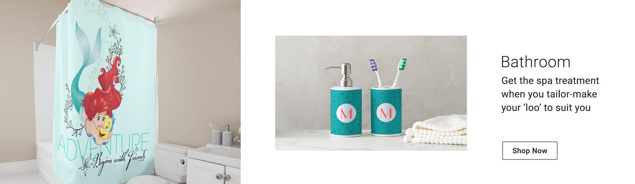 Freshen up your bathroom with our shower curtains, bath mats, and custom bath sets.