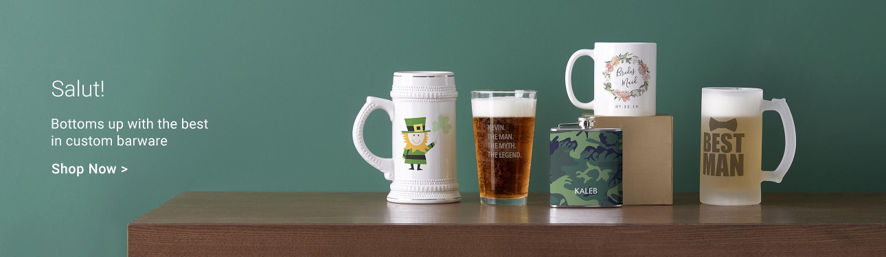Salut! Bottoms up with the best in custom barware!