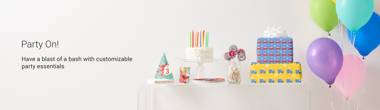 Party On! Have a blast of a bash with customizable party essentials such as party hats, paper plates and cups, and more!