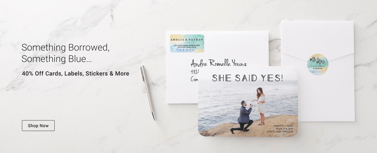 Something Borrowed, Something Blue... 40% off Cards, Labels, Stickers & More!