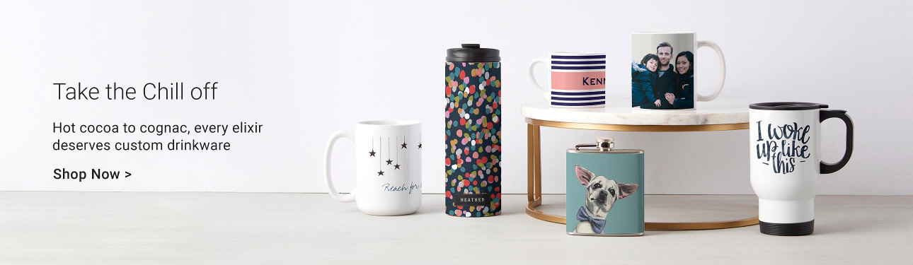 Take the Chill Off - Hot cocoa to cognac, every elixir deserves custom drinkware! Browse for your perfect mug or cup today!