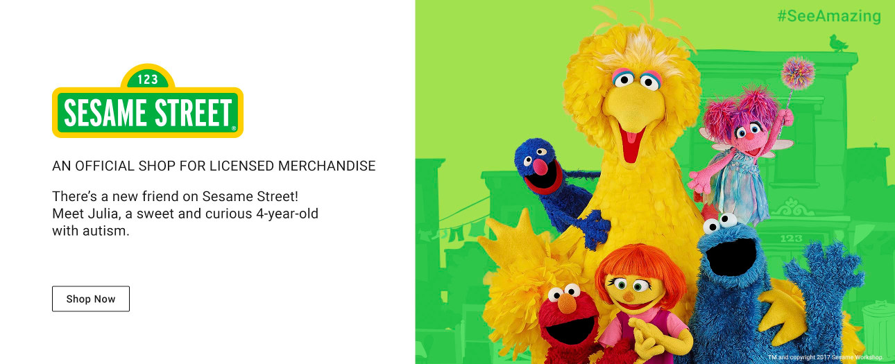 An Official Shop for Licensed Merchandise - There's a new friend on Sesame Street! Meet Julia, a sweet and curious 4-year-old