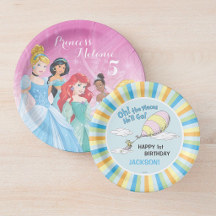 Paper Plates - Oh! The Places She'll Go! - First Birthday Paper Plate, Disney Princess | Birthday Paper Plate