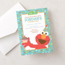 Invitations - Sesame Street | Elmo - Cupcake & Confetti Birthday Card