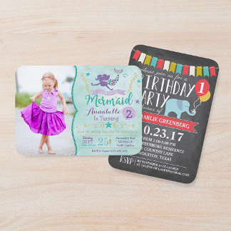Party Invitations - Mermaid Birthday Invite with Photo, Custom Age Elephant Birthday Party | Birthday Card