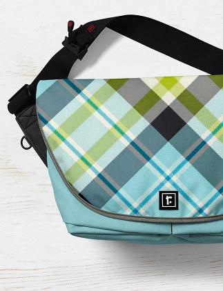 Messenger Bags - Blue Plaid Messenger Bag