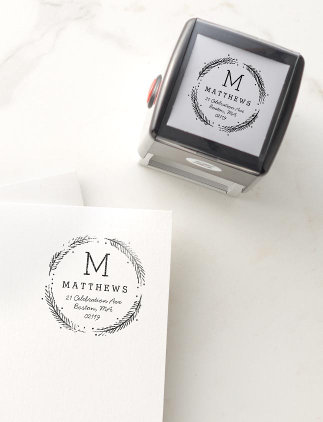 Rubber Stamps - Rustic Wreath Monogram Rubber Stamp