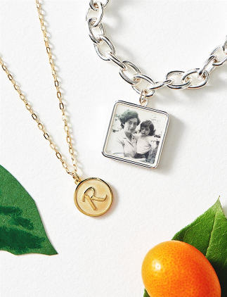 Browse through our incredible selection of Mother's Day gifts, such as these monogram necklace and photo bracelet.
