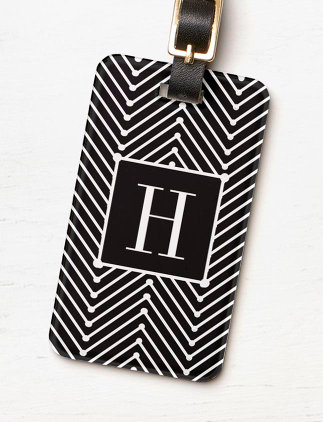 Monogram Luggage Tags - CHIC LUGGAGE/BAG TAG_MODERN BLACK/WHITE ZIGZAG BAG TAG