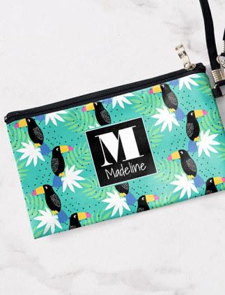 Toucans On Teal | Monogram Wristlet Purse Cosmetic Bag