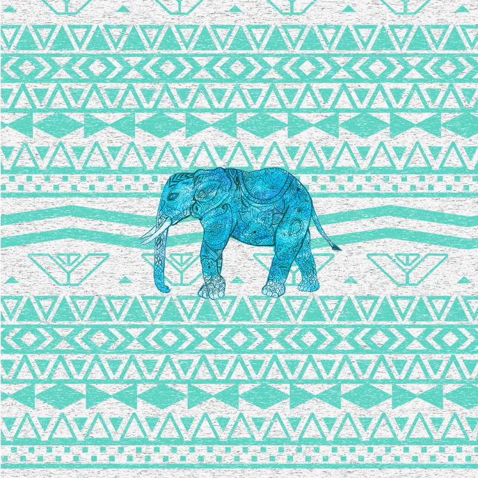 Whimsical Turquoise Paisley Elephant Aztec Pattern Guitar Pick