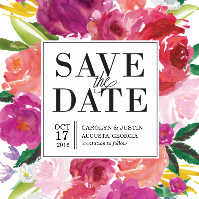 Modern Watercolor Flowers Wedding Save the Date Card
