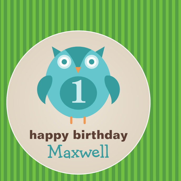 Birthday Favor Sticker | Blue Owl