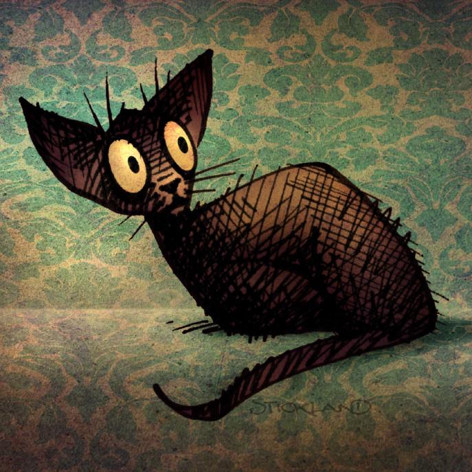 Cute Custom Black Oriental Cat Art Barely There iPhone 6 Case