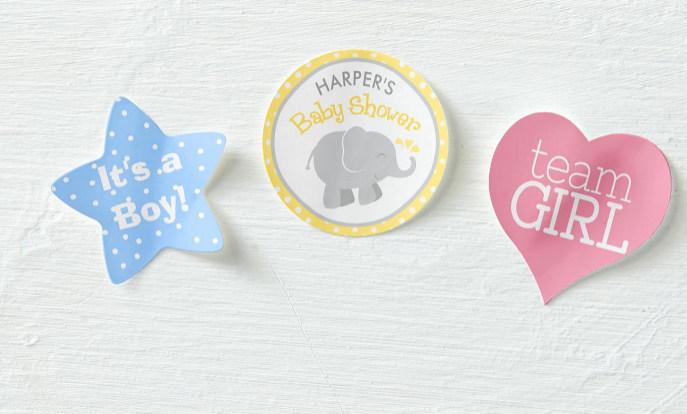 Pegatinas para celebrar una baby shower para niño o niña en Zazzle