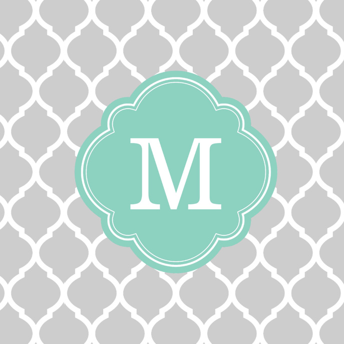 Gray & Aqua Modern Moroccan Custom Monogram Throw Pillow