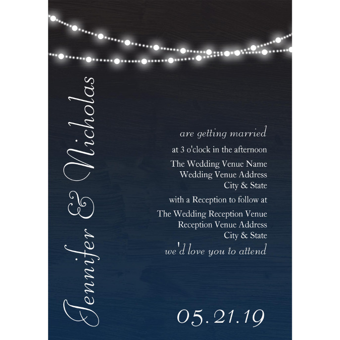 Navy Blue Ombre Lights Typography Wedding Invites