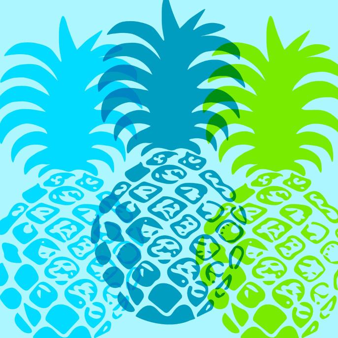 Momona Pineapple Hawaiian Tropical Reversible Throw Pillow