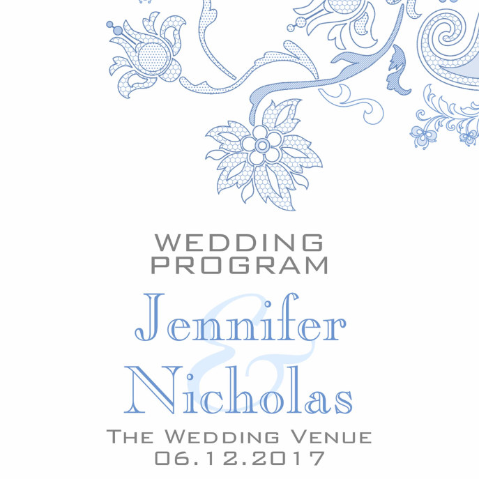 Any Color Flowers and Foliage Lacy Wedding Program