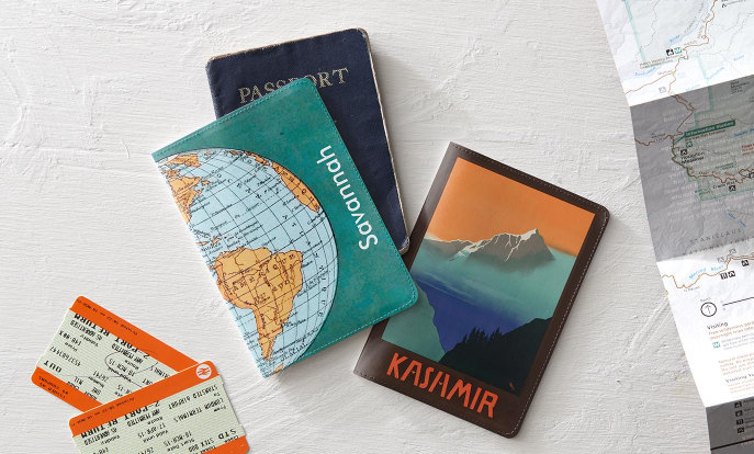 Passport holders personalized with maps and landscape