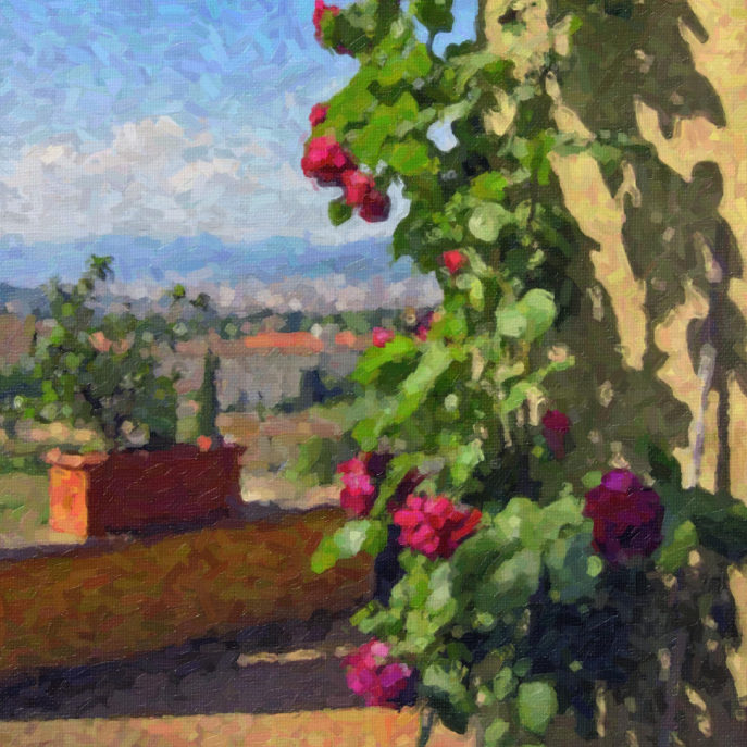Terrace at Villa Poggio SanFelice Postcard