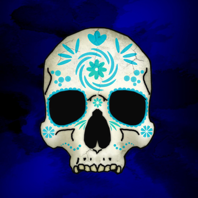Blue Decorated Skull Throw Pillow