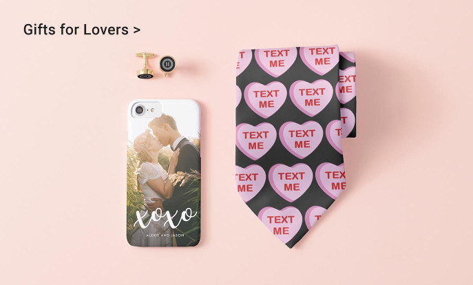 Gifts for Lovers - sweet white overlay with photo iPhone 7 Case, Initial Monogram Gold Cufflinks, Candy Heart Apparel Tie
