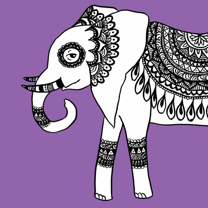 Henna Elephant Serving Tray