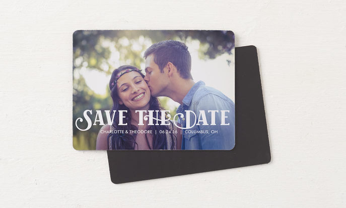 Save the Date Magnets - Retro White Script Save The Date Full Bleed Photo Magnet