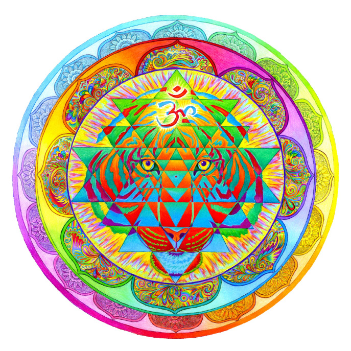 Inner Strength Sri Yantra Mandala Round Pillow